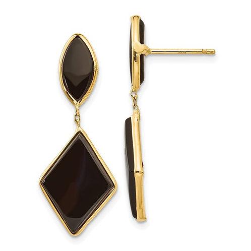 Gorgeous  14k Yellow Gold & Black Onyx Drop Dangle Earrings