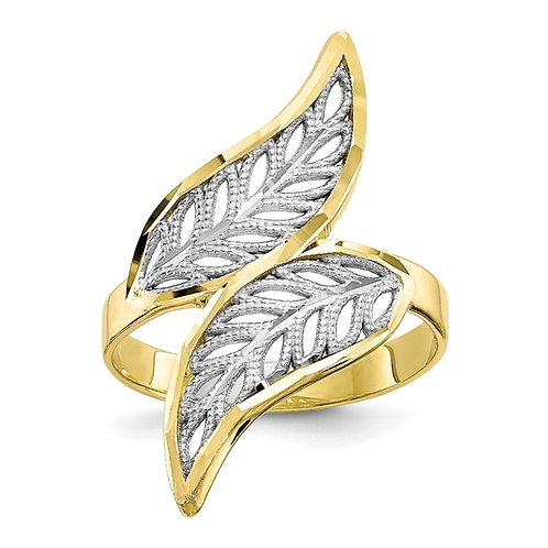 10k Two Tone Gold Diamond Cut Angel Wings Filigree Ring Solid 3mm All Sizes