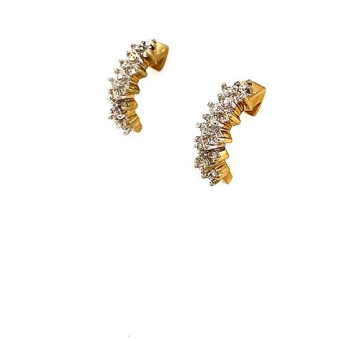 "GORGEOUS! .80ct Diamond Drop 14k Yellow Gold Earrings Measure 3/4"""