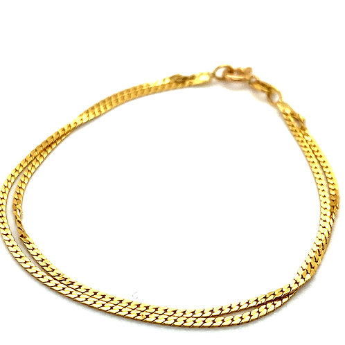 """Child's Double Link Bracelet Measures 6"""" Handcrafted 18K Yellow Gold GORGEOUS!"""