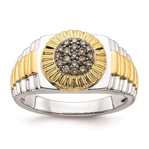 GORGEOUS! Men's Two Tone 10k Gold & Champagne Diamond Ring