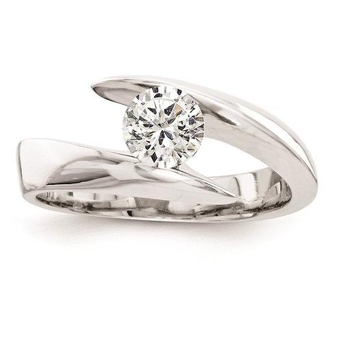Modern Unique Design Engagement Ring 14k White Gold & Diamond 0.5ct 3mm