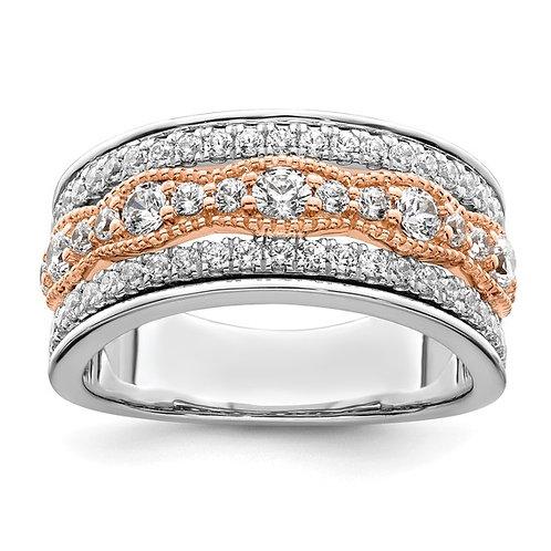 Luxurious Two Tone 14K Gold Wedding Band Diamonds 1.ct Wide