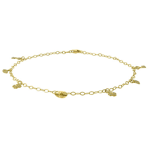 "10k Handcrafted Yellow Polished Gold Charm Anklet Measures 10"" 1.9g"