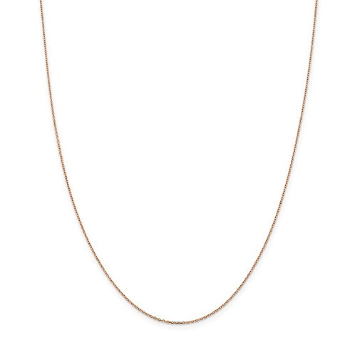"""14k Rose Gold Dainty Sweet Cable Chain Necklace Measures 16"""" 1mm Super NICE!"""