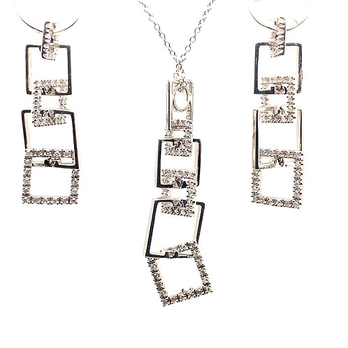 Diamond Drop Necklace & Earrings Set Square Design w/14k White Gold