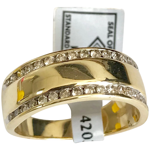 Vintage 14 K Yellow Gold 38 Diamond Unisex Wedding Band ~ IGI Certificate