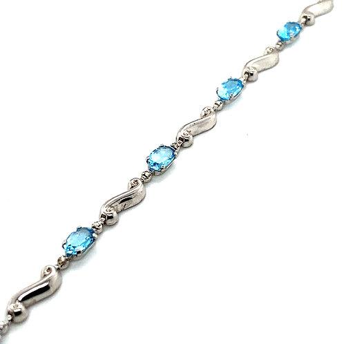 """Blue Topaz 10ct Link Bracelet Set in Handcrafted 14k White Gold Measures 6 3/4"""""""
