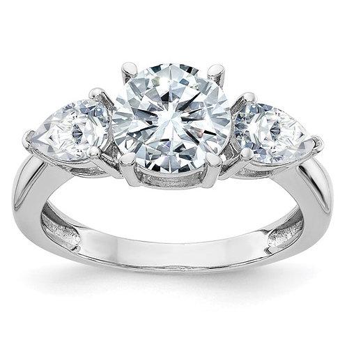 Gorgeous! 14k White Gold 3 3/8ct (3) Stone Moissanite Engagement Ring
