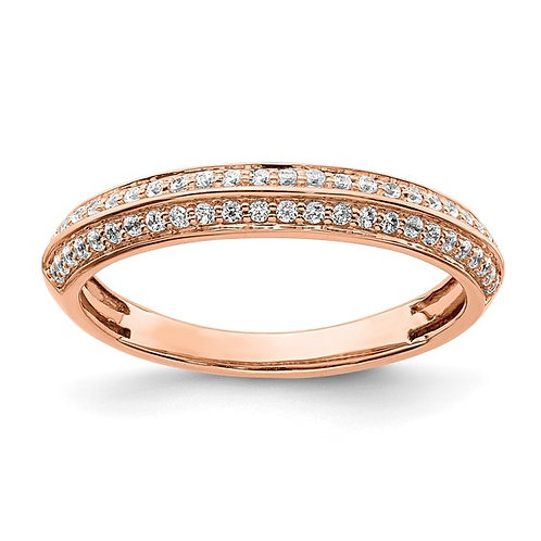 Handcrafted 14K Rose Gold & Diamond Wedding Band 3mm 0.25ct