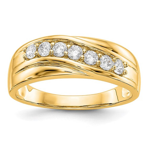 Men's Handcrafted 14K Yellow Gold & Diamond Wedding Band Ring 0.49ct
