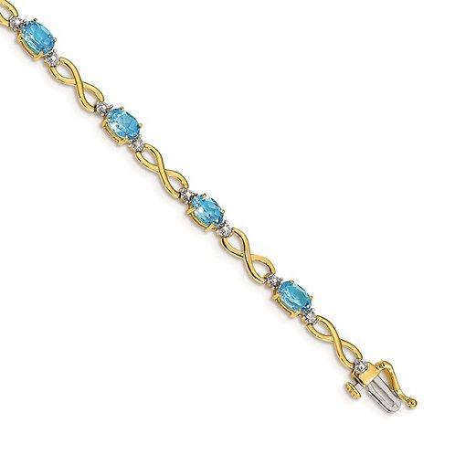 "14k Yellow Gold Blue Topaz & Diamond Infinity Tennis Bracelet Measures 7"" 4mm"