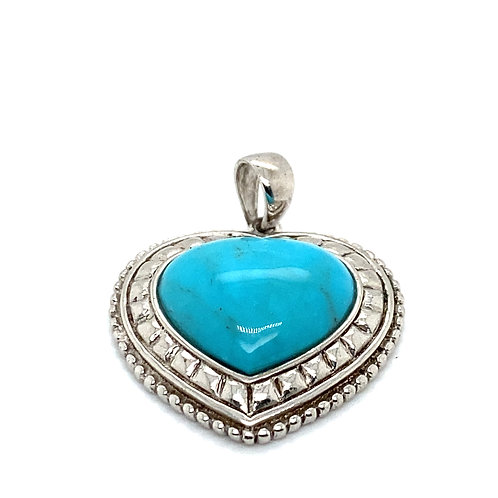 Beautiful Large Turquoise & 925 Silver Heart Pendant Absolutely Gorgeous!