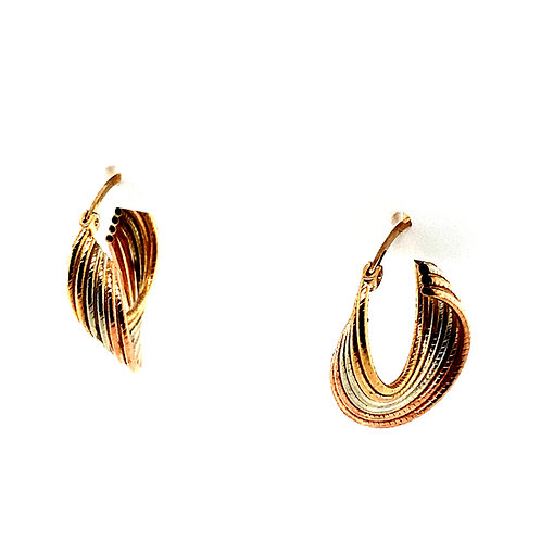 Beautiful Tri Color Handcrafted 14k Gold Dangle Drop Small Hoop Earrings 3D