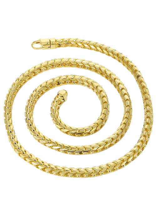 "Solid Franco Chain Necklace Handcrafted 10k Yellow Gold Measures 30"" 5.5mm"