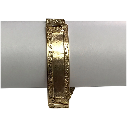 14 K Yellow Gold Hand Made Etched ID Bracelet