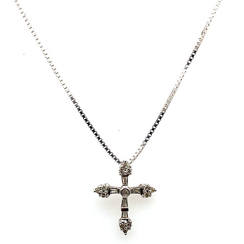 Absolutely GORGEOUS .20ct Diamond Cross Pendant &  14k White Gold Necklace