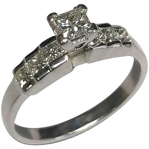14 K White Gold Princess Cut Six Diamond 0.98 CTW Ring ~ IGI Cert