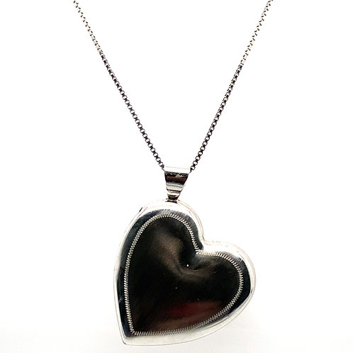 GORGEOUS! Double Sided Heart Locket Pendant Handcrafted 14k White Gold ENGRAVE!