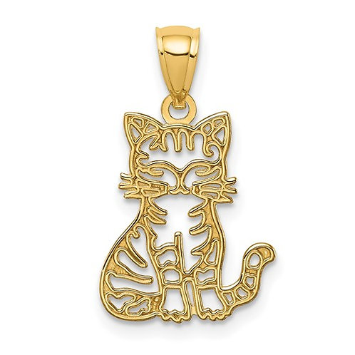 14k Solid Yellow Gold Open Sitting Cat Charm Pendant Diamond Cut GORGEOUS!