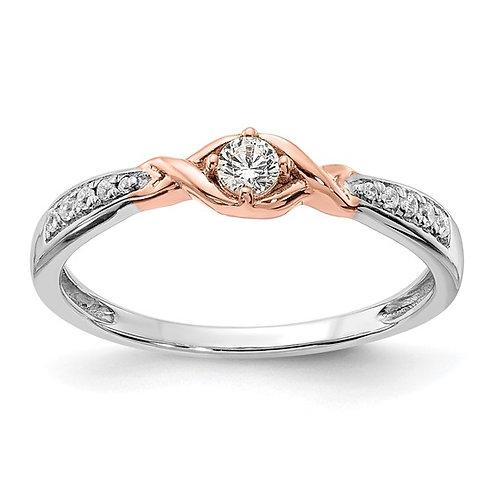 Beautiful 14k White & Rose Gold Diamond Promise Engagement Ring 0.16ct NICE