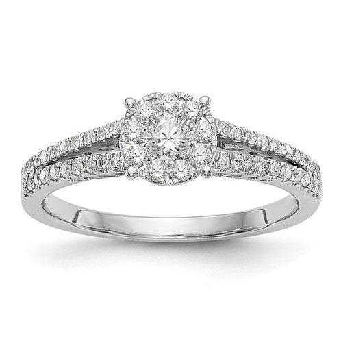 Gorgeous Engagement Ring 14K White Gold & Diamonds