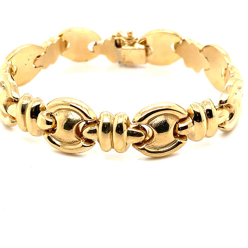 Gorgeous Round Fancy Link Super Thick 14mm Handcrafted 14k Gold Bracelet