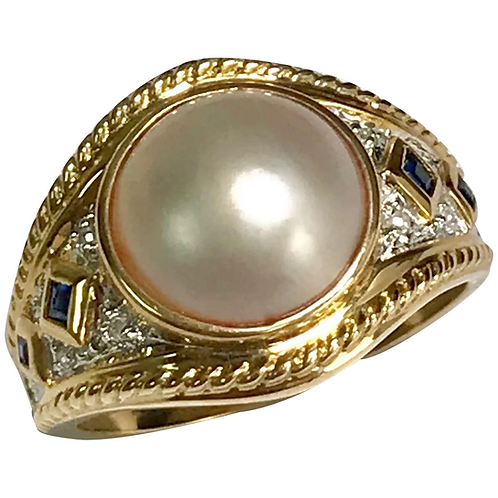 10 K Yellow Gold Mabe Pearl, Sapphire & Diamond Ring