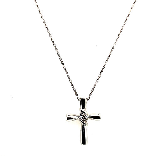 """Beautiful Sweet Dainty Handcrafted 14K White Gold Necklace 19"""" & Center Diamond"""