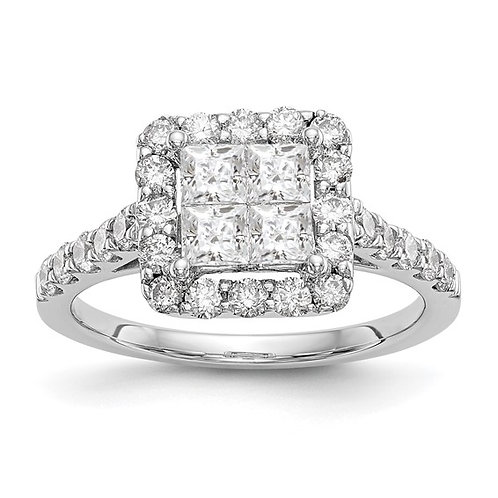 Handcrafted 14k White Gold & Diamond Cluster 1.50ct Engagement Ring