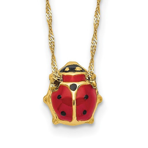 "14k Yellow Gold & Red Enameled Ladybug Necklace Measures 17"" Super CUTE!"