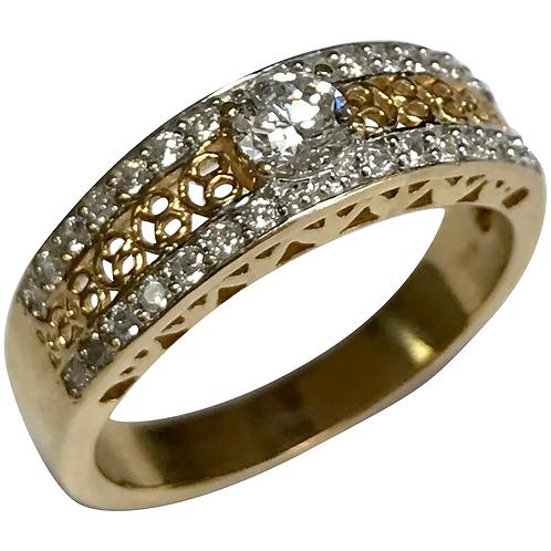 14 K Yellow Gold 0.60 CTW Fancy Diamond Band ~ IGI Cert
