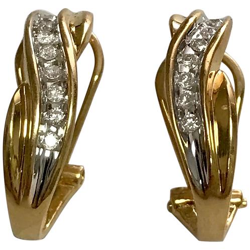 14 k Yellow Gold Diamond Lever Back Hoop Earrings