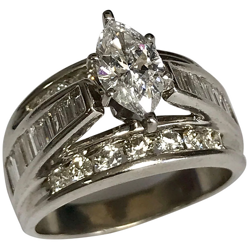 14 K White Gold 0.92 Carat Marquise Diamond Solitaire Ring~ GIA Cert