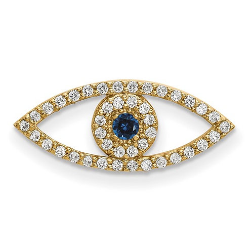 Beautiful Evil Eye Pendant 14K Yellow Gold Diamond & Sapphire GORGEOUS!