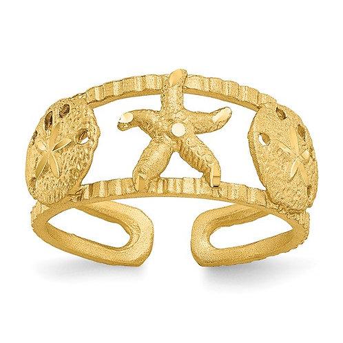 Sun & Fun Beach Starfish Design 14K Yellow Gold Toe Ring