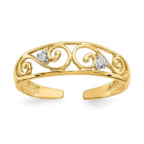 Gorgeous Fancy 14k Yellow Gold & Diamond Toe Ring NICE!