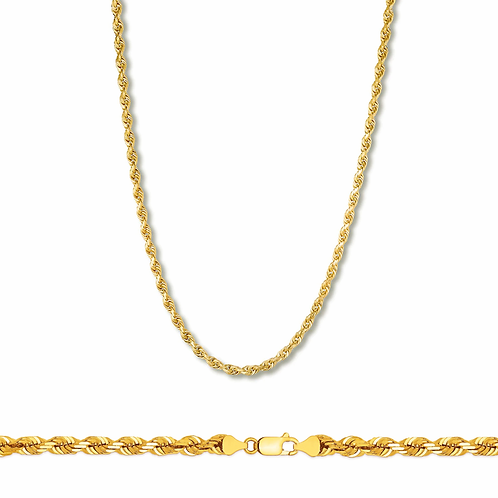 "Rope Chain Necklace Handcrafted 14k Yellow Gold Measures 26"" Thickness is 3mm"