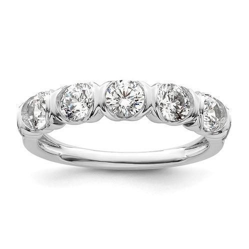 GORGEOUS! 14k White Gold &  (5) Diamond Ring 1.075ct Wedding Band