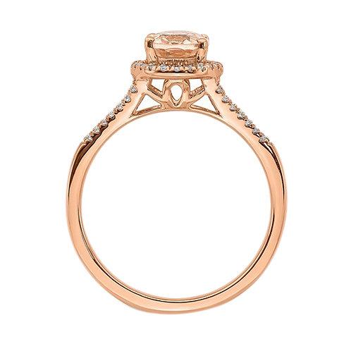 Gorgeous 14k Rose Gold Morganite Diamond Halo Engagement Ring