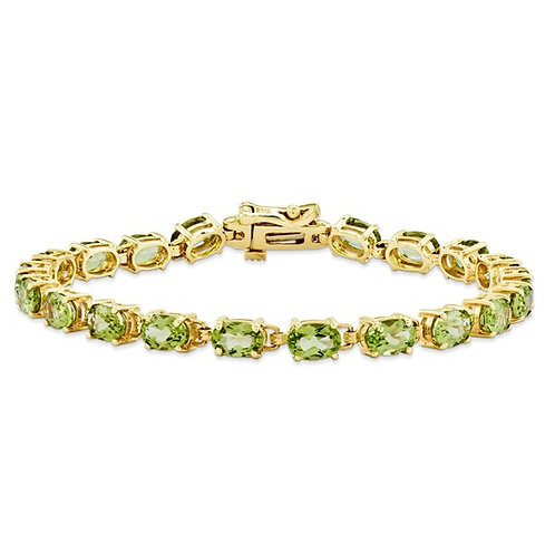 GORGEOUS! 14k Yellow Gold Oval Shape Peridot Tennis Bracelet