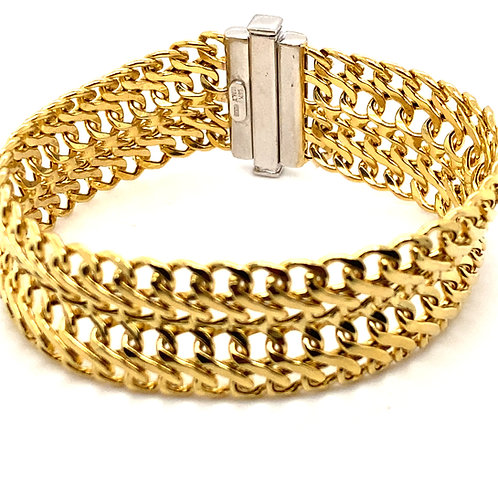 Thick Statement Piece Handcrafted 14K Yellow Gold Bracelet
