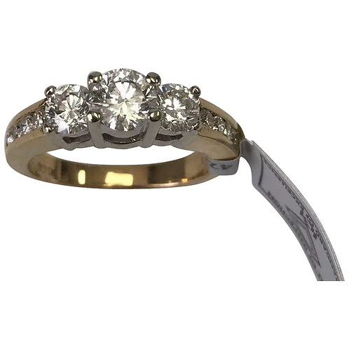 14 K Yellow Gold 1.46 CTW Three Stone Diamond Wedding /Anniversary Ring