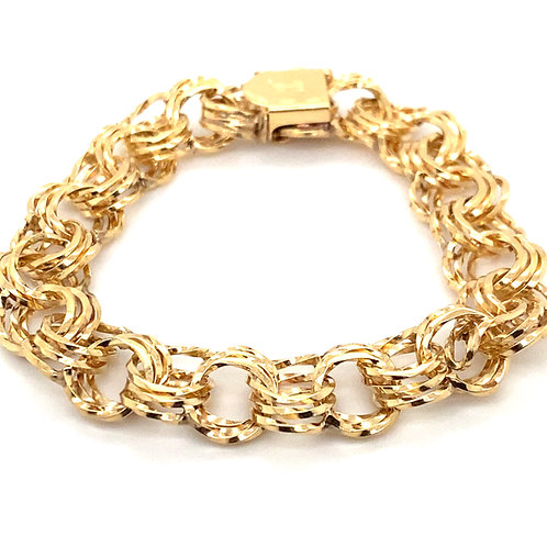 Stunning Thick 15mm Statement Circle Link Bracelet Handcrafted 14k Yellow Gold