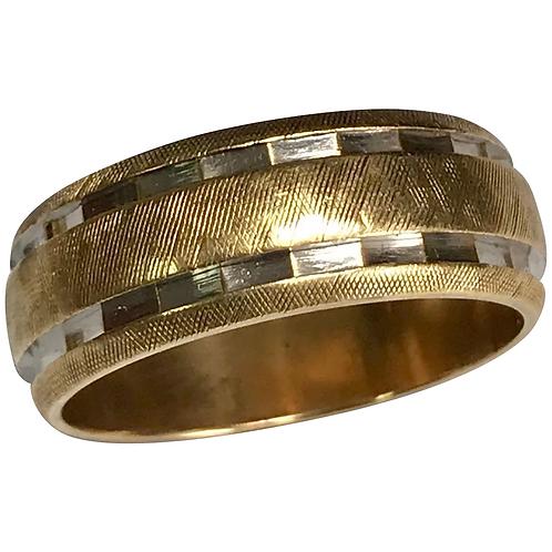 14 K Two Tone Brushed & Diamond Cut 7.5 mm Wedding Band
