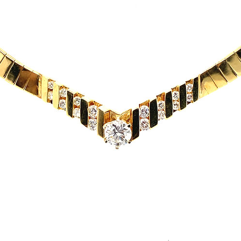 Beautiful 14K Gold IGI Certified 1.03 Carats Diamond Necklace