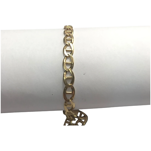 "14 K Yellow Gold Solid Marnier Link Bracelet 8"""
