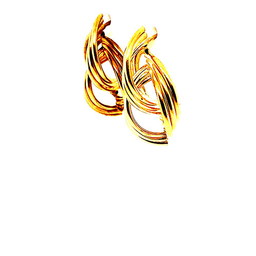 Gorgeous Handcrafted 14k Yellow Gold Double Swirl Classic Design Drop Earrings