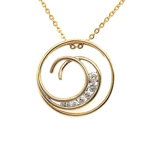 Beautiful 14K Gold Diamond Swirl Necklace