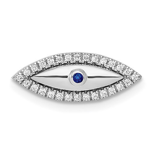 14k White Gold Diamond & Sapphire Evil Eye Chain Slide Pendant